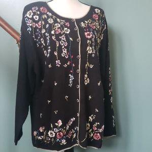 Dressbarn embroidered floral black sweater